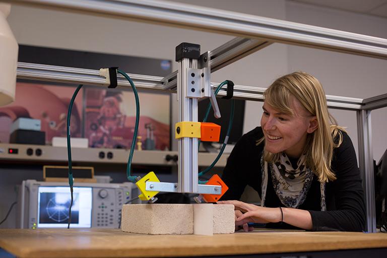 Katie Brinker in the nondestructive testing laboratory